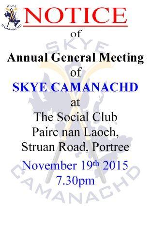 2015 Skye Camanachd AGM